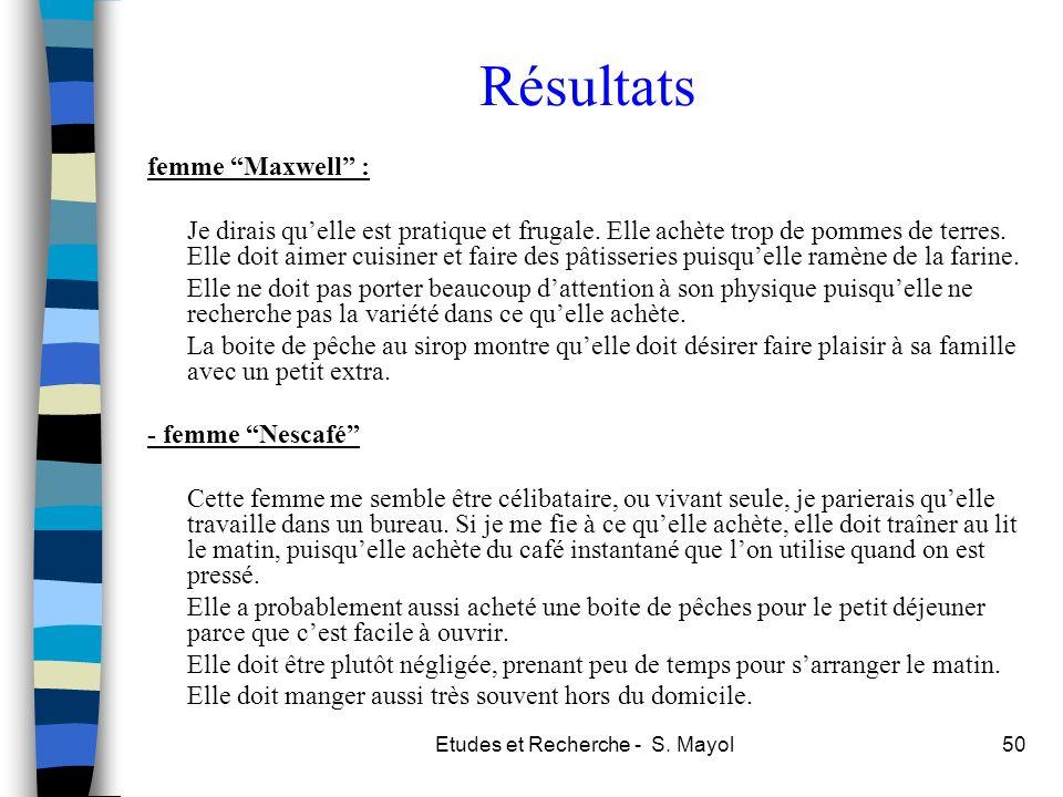 Etudes et Recherche - S. Mayol50 Résultats femme Maxwell : Je dirais quelle est pratique et frugale. Elle achète trop de pommes de terres. Elle doit a