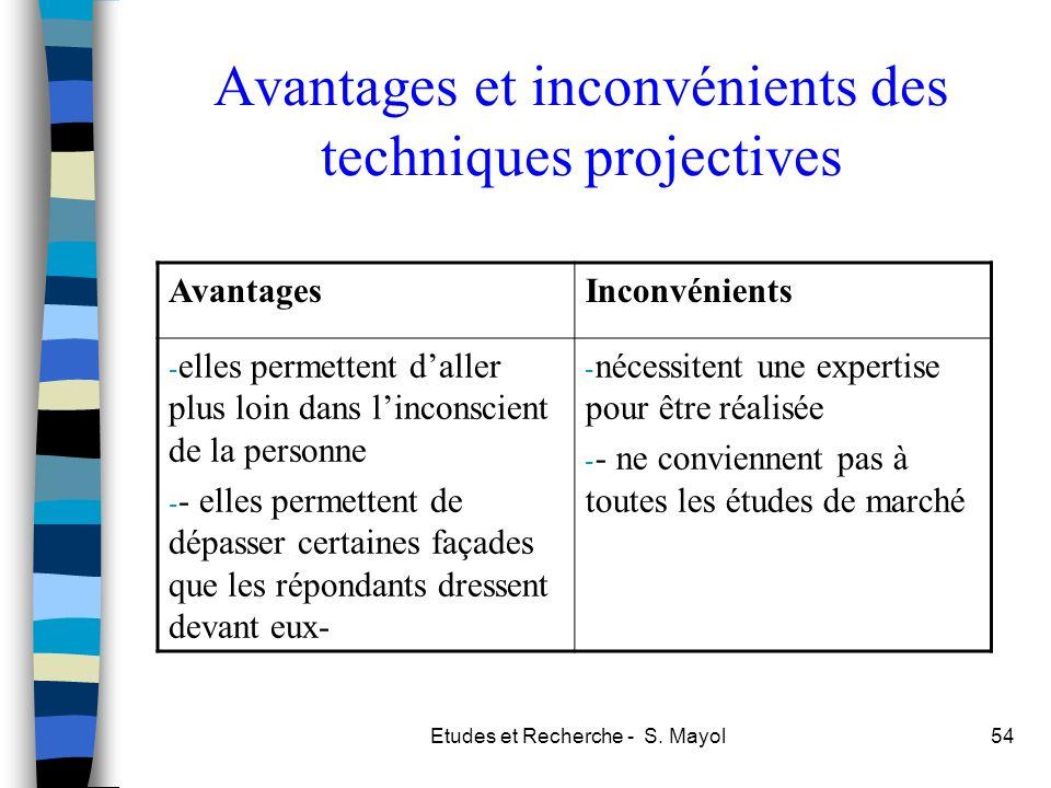 Etudes et Recherche - S. Mayol54 Avantages et inconvénients des techniques projectives AvantagesInconvénients - elles permettent daller plus loin dans