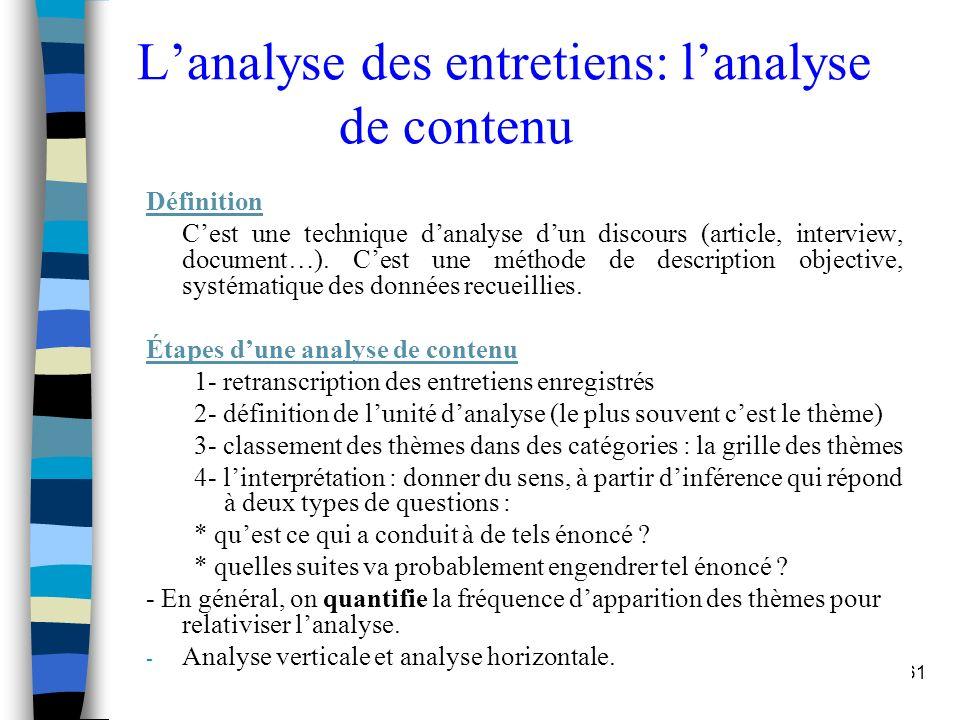 Etudes et Recherche - S. Mayol61 Lanalyse des entretiens: lanalyse de contenu Définition Cest une technique danalyse dun discours (article, interview,