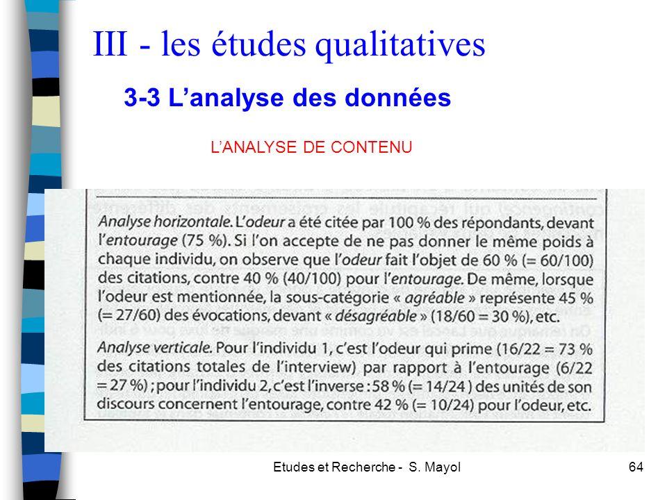 Etudes et Recherche - S. Mayol64 LANALYSE DE CONTENU III - les études qualitatives 3-3 Lanalyse des données