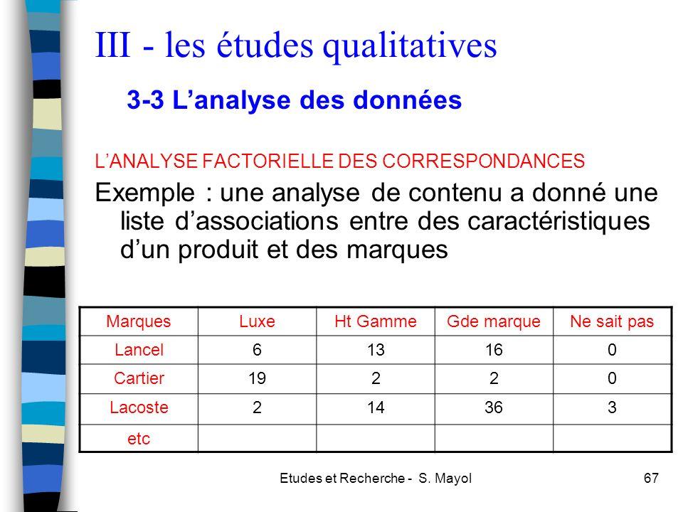 Etudes et Recherche - S. Mayol67 LANALYSE FACTORIELLE DES CORRESPONDANCES Exemple : une analyse de contenu a donné une liste dassociations entre des c