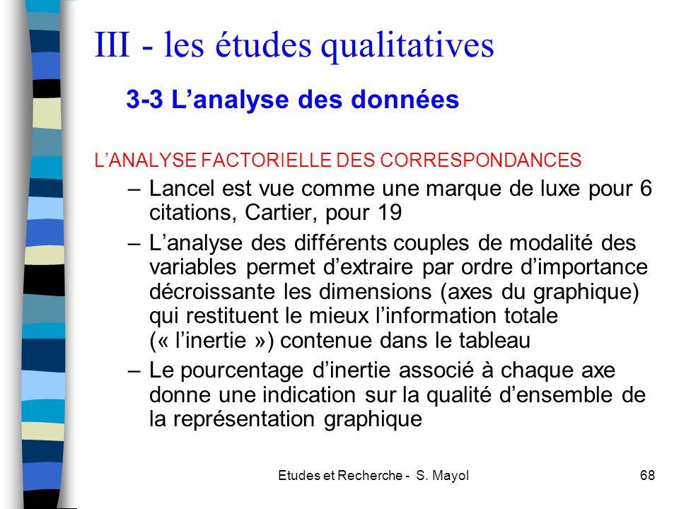 Etudes et Recherche - S. Mayol68 LANALYSE FACTORIELLE DES CORRESPONDANCES –Lancel est vue comme une marque de luxe pour 6 citations, Cartier, pour 19