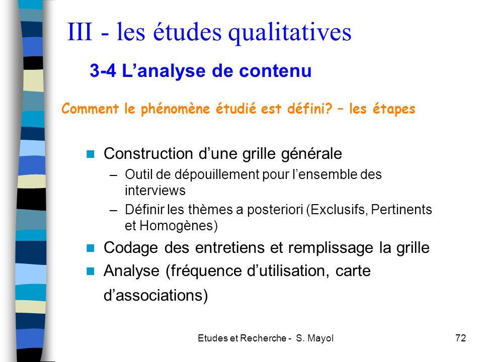 Etudes et Recherche - S. Mayol72 Construction dune grille générale –Outil de dépouillement pour lensemble des interviews –Définir les thèmes a posteri