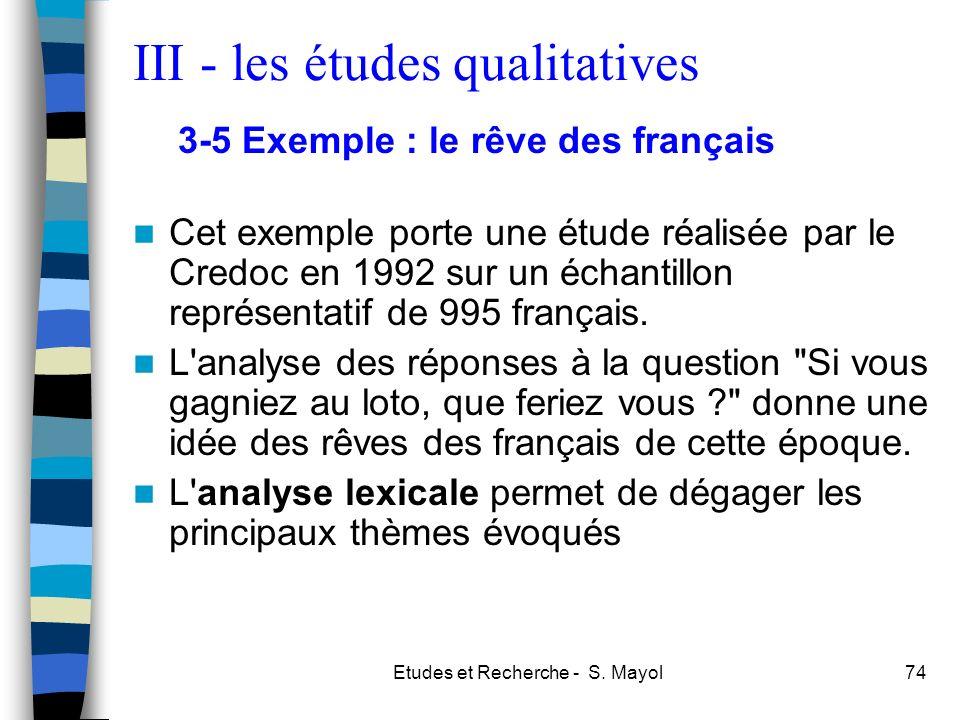 Etudes et Recherche - S. Mayol74 Cet exemple porte une étude réalisée par le Credoc en 1992 sur un échantillon représentatif de 995 français. L'analys