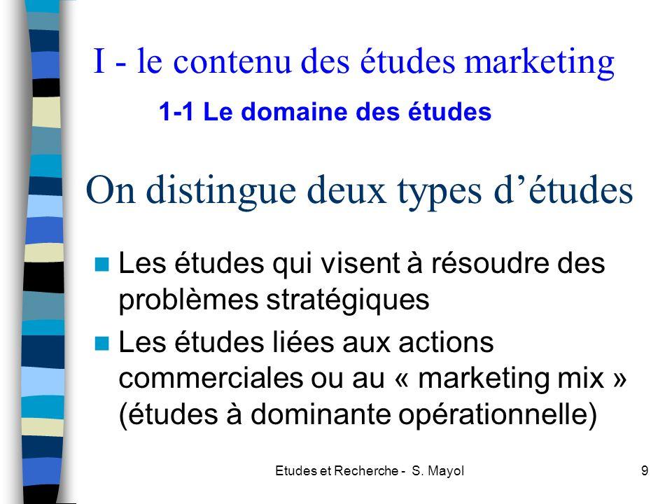Etudes et Recherche - S. Mayol9 On distingue deux types détudes Les études qui visent à résoudre des problèmes stratégiques Les études liées aux actio
