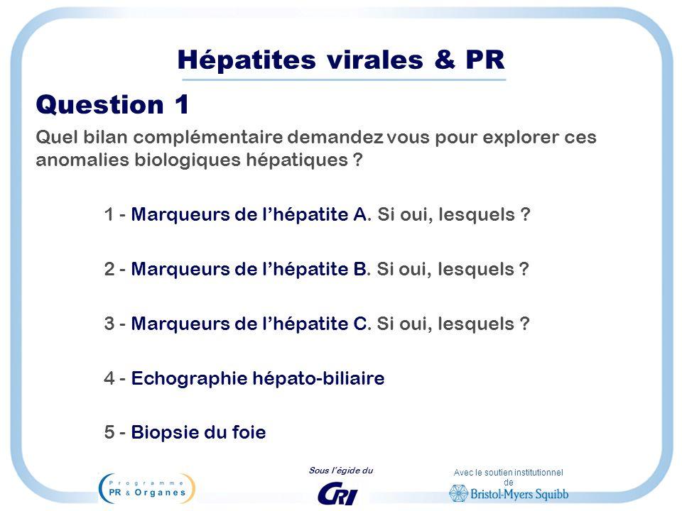 Avec le soutien institutionnel de Sous légide du Hépatites virales & PR Question 1 Quel bilan complémentaire demandez vous pour explorer ces anomalies