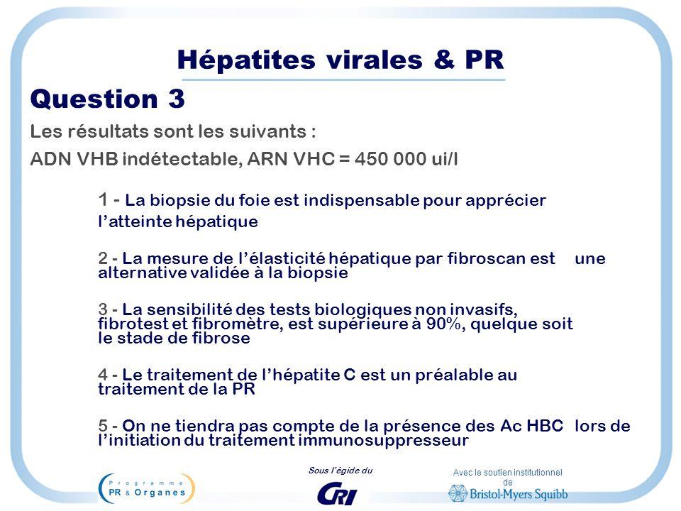 Avec le soutien institutionnel de Sous légide du Hépatites virales & PR Question 3 Les résultats sont les suivants : ADN VHB indétectable, ARN VHC = 4