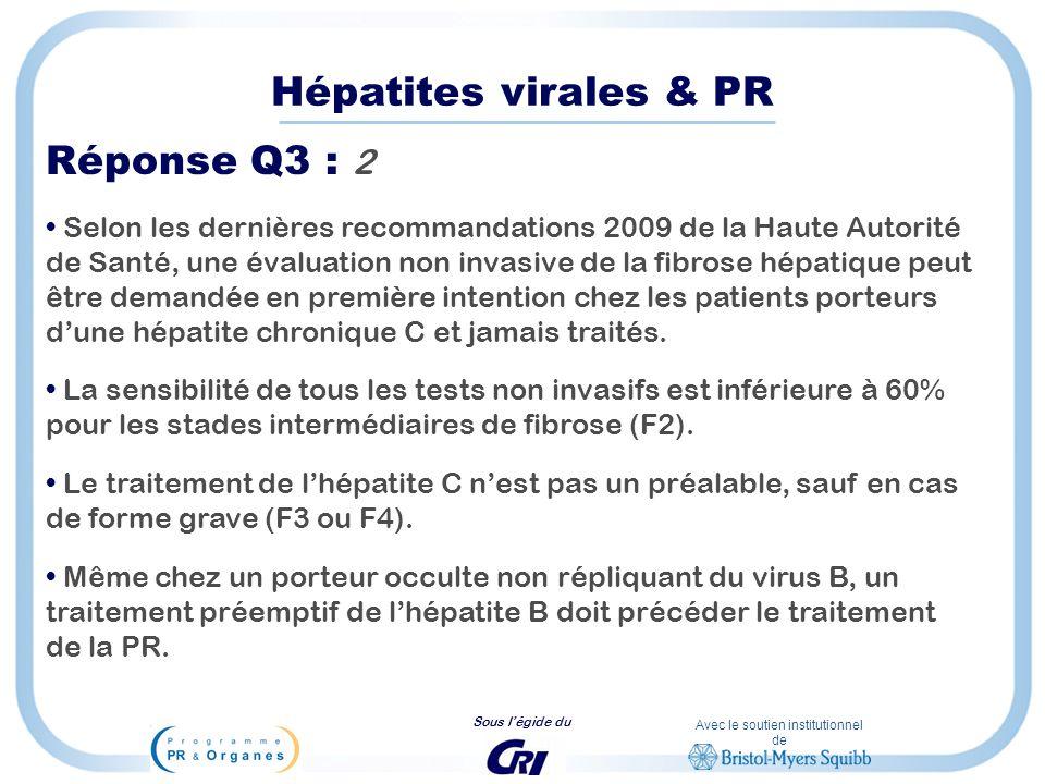 Avec le soutien institutionnel de Sous légide du Hépatites virales & PR Réponse Q3 : 2 Selon les dernières recommandations 2009 de la Haute Autorité d