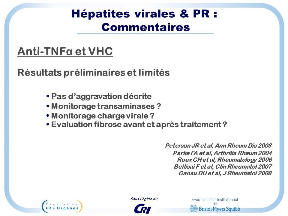 Avec le soutien institutionnel de Sous légide du Hépatites virales & PR : Commentaires Anti-TNF α et VHC Résultats préliminaires et limités Pas daggra
