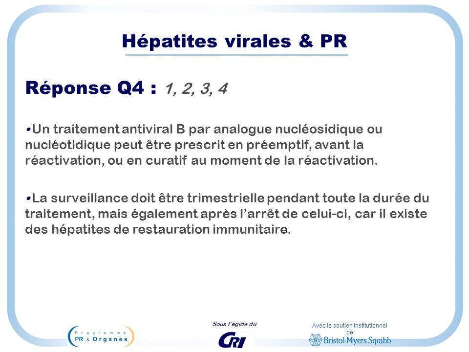 Avec le soutien institutionnel de Sous légide du Hépatites virales & PR Réponse Q4 : 1, 2, 3, 4 Un traitement antiviral B par analogue nucléosidique o