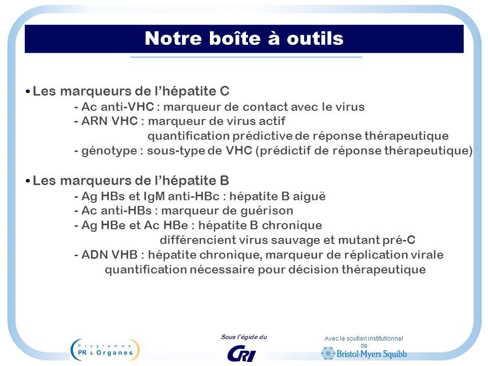 Avec le soutien institutionnel de Sous légide du Notre boîte à outils Les marqueurs de lhépatite C - Ac anti-VHC : marqueur de contact avec le virus -