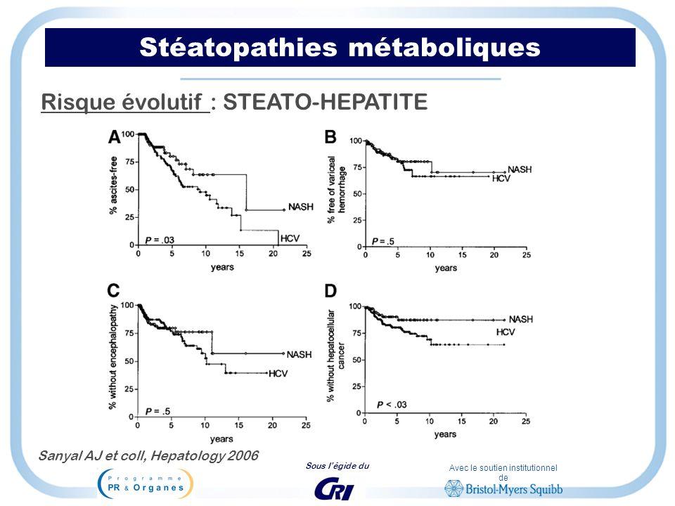 Avec le soutien institutionnel de Sous légide du Stéatopathies métaboliques Risque évolutif : STEATO-HEPATITE Sanyal AJ et coll, Hepatology 2006