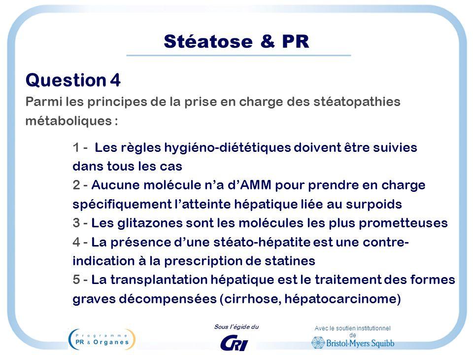 Avec le soutien institutionnel de Sous légide du Stéatose & PR Question 4 Parmi les principes de la prise en charge des stéatopathies métaboliques : 1