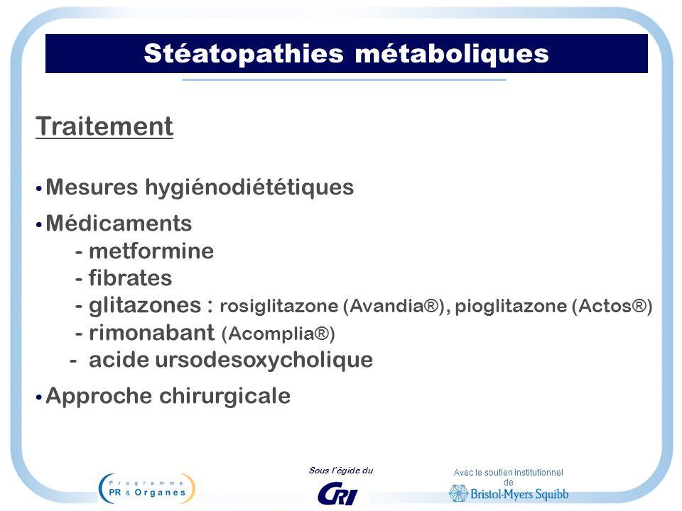 Avec le soutien institutionnel de Sous légide du Stéatopathies métaboliques Traitement Mesures hygiénodiététiques Médicaments - metformine - fibrates