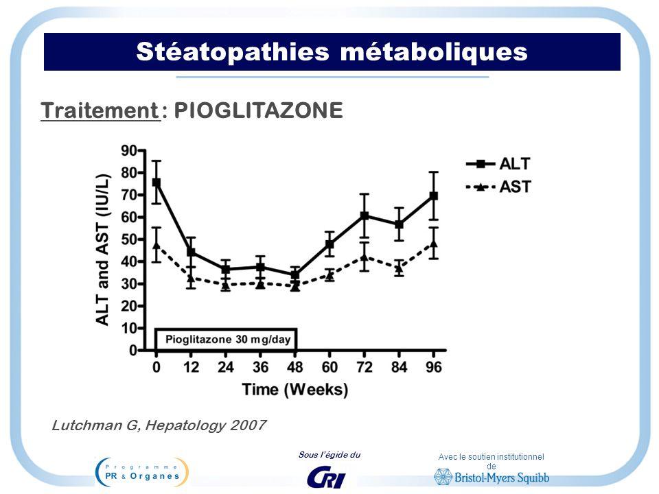 Avec le soutien institutionnel de Sous légide du Stéatopathies métaboliques Traitement : PIOGLITAZONE Lutchman G, Hepatology 2007