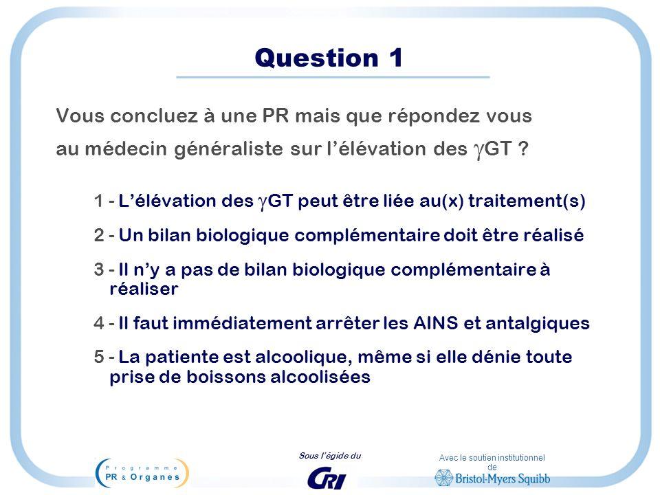 Avec le soutien institutionnel de Sous légide du Question 1 Vous concluez à une PR mais que répondez vous au médecin généraliste sur lélévation des GT
