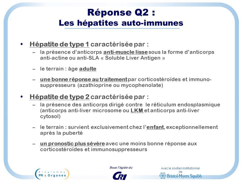 Avec le soutien institutionnel de Sous légide du Réponse Q2 : Les hépatites auto-immunes Hépatite de type 1 caractérisée par : –la présence danticorps