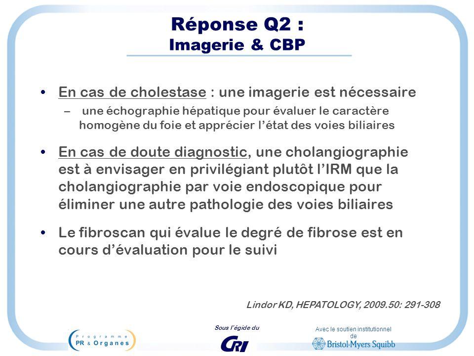 Avec le soutien institutionnel de Sous légide du Réponse Q2 : Imagerie & CBP En cas de cholestase : une imagerie est nécessaire – une échographie hépa