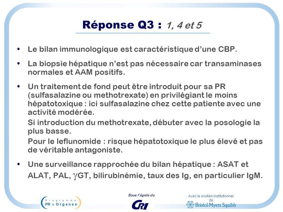Avec le soutien institutionnel de Sous légide du Réponse Q3 : 1, 4 et 5 Le bilan immunologique est caractéristique dune CBP. La biopsie hépatique nest