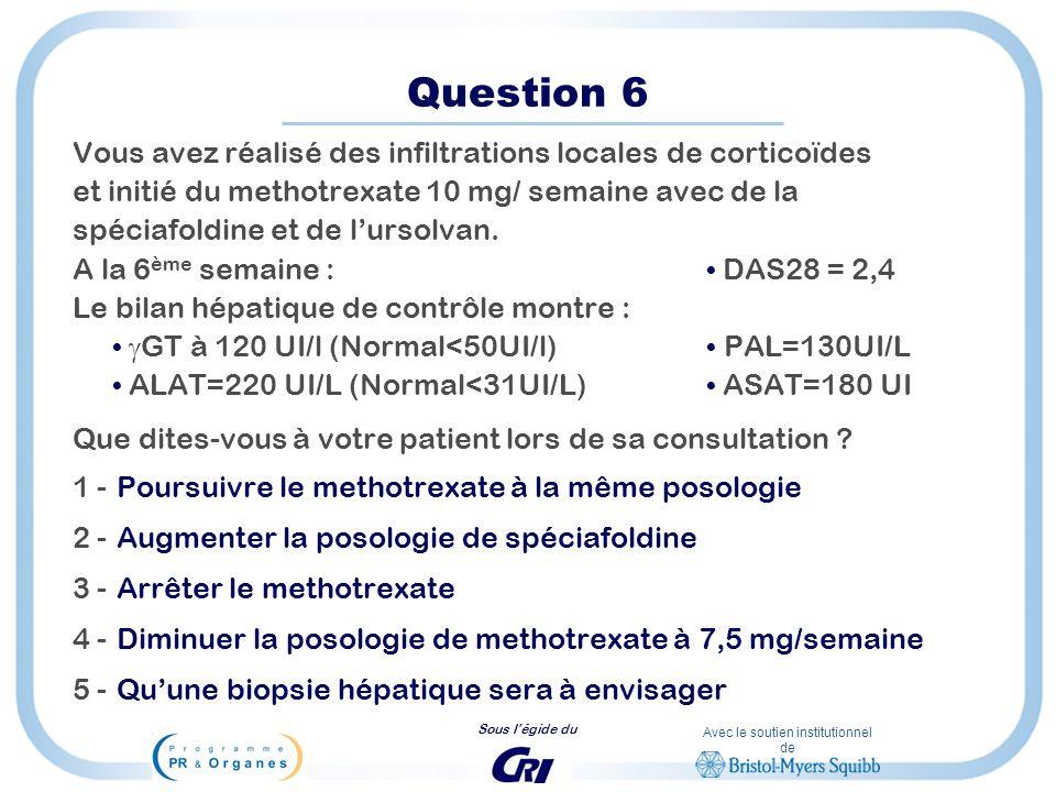 Avec le soutien institutionnel de Sous légide du Question 6 Vous avez réalisé des infiltrations locales de corticoïdes et initié du methotrexate 10 mg