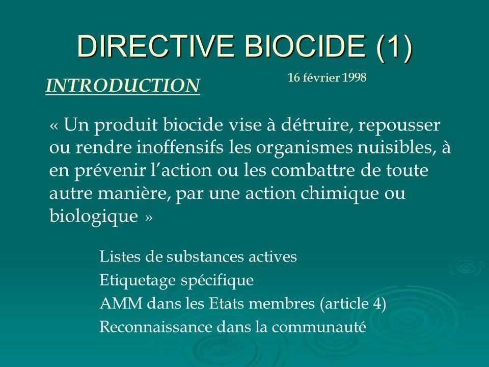 DIRECTIVE BIOCIDE (1) Listes de substances actives Etiquetage spécifique AMM dans les Etats membres (article 4) Reconnaissance dans la communauté « Un