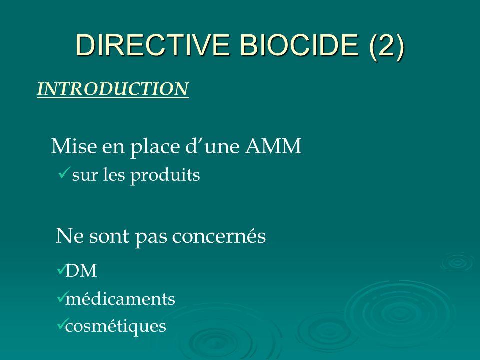 DIRECTIVE BIOCIDE (2) Mise en place dune AMM sur les produits Ne sont pas concernés DM médicaments cosmétiques INTRODUCTION