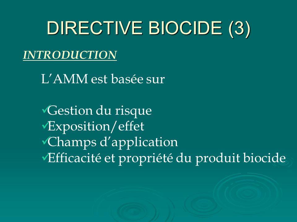 DIRECTIVE BIOCIDE (3) INTRODUCTION LAMM est basée sur Gestion du risque Exposition/effet Champs dapplication Efficacité et propriété du produit biocid