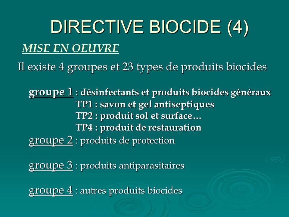 DIRECTIVE BIOCIDE (4) Il existe 4 groupes et 23 types de produits biocides groupe 1 : désinfectants et produits biocides généraux TP1 : savon et gel a