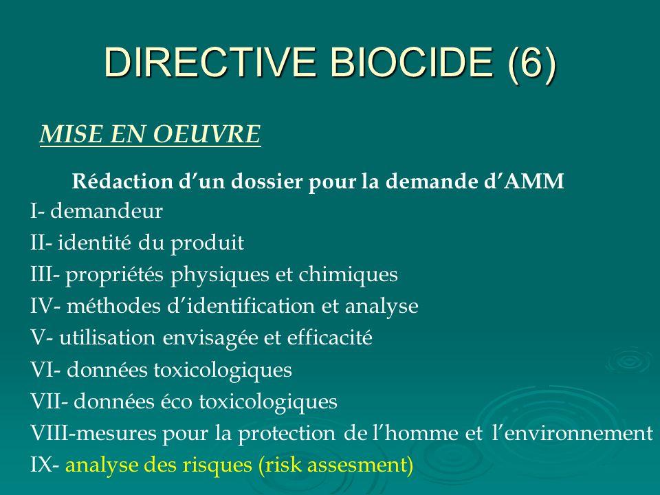 DIRECTIVE BIOCIDE (6) MISE EN OEUVRE Rédaction dun dossier pour la demande dAMM I- demandeur II- identité du produit III- propriétés physiques et chim