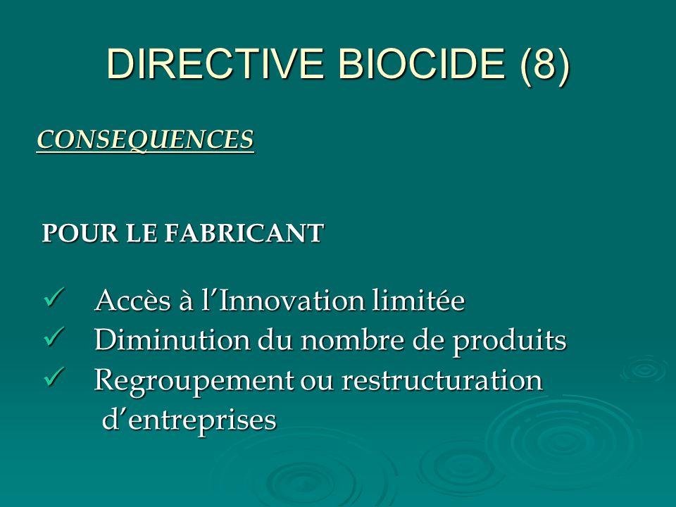 DIRECTIVE BIOCIDE (8) CONSEQUENCES POUR LE FABRICANT Accès à lInnovation limitée Accès à lInnovation limitée Diminution du nombre de produits Diminuti