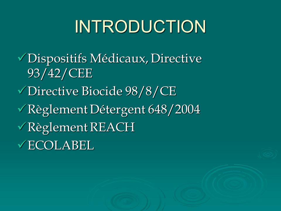INTRODUCTION Dispositifs Médicaux, Directive 93/42/CEE Dispositifs Médicaux, Directive 93/42/CEE Directive Biocide 98/8/CE Directive Biocide 98/8/CE R