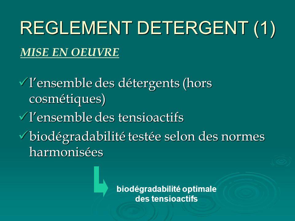 REGLEMENT DETERGENT (1) lensemble des détergents (hors cosmétiques) lensemble des détergents (hors cosmétiques) lensemble des tensioactifs lensemble d