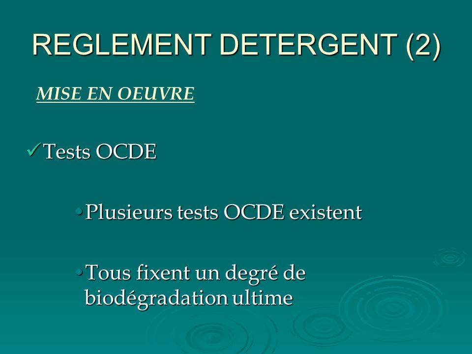 REGLEMENT DETERGENT (2) Tests OCDE Tests OCDE Plusieurs tests OCDE existentPlusieurs tests OCDE existent Tous fixent un degré de biodégradation ultime