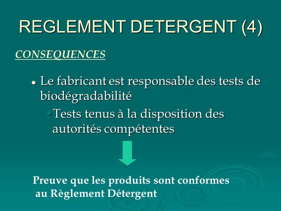 REGLEMENT DETERGENT (4) Le fabricant est responsable des tests de biodégradabilité Le fabricant est responsable des tests de biodégradabilité Tests te