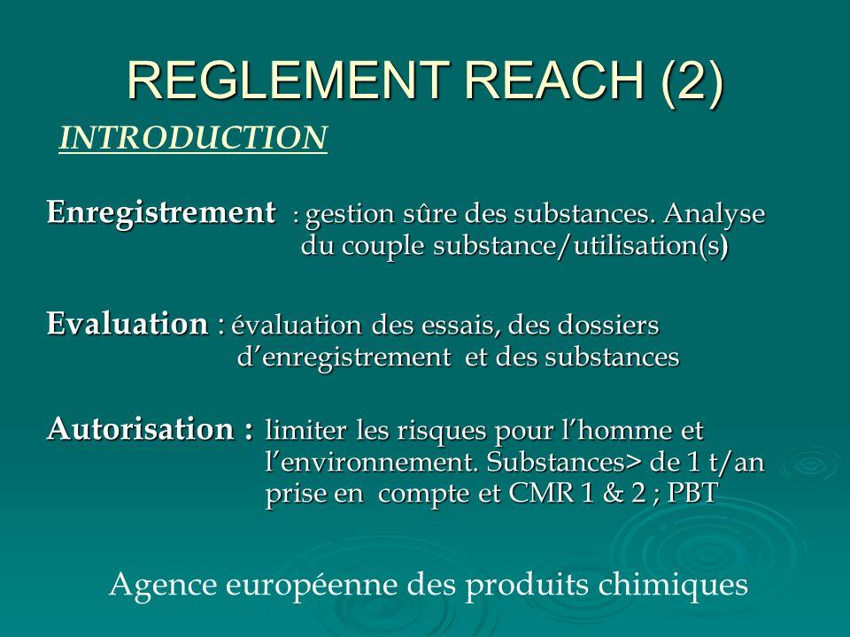 REGLEMENT REACH (2) Enregistrement : gestion sûre des substances. Analyse du couple substance/utilisation(s ) Evaluation : évaluation des essais, des