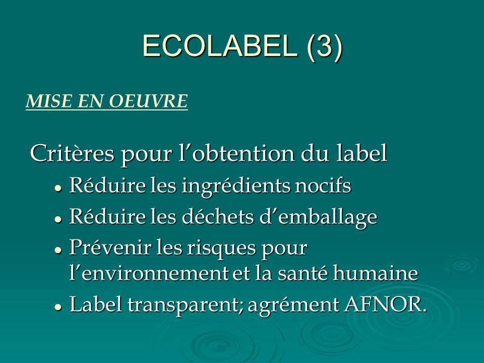 ECOLABEL (3) Critères pour lobtention du label Réduire les ingrédients nocifs Réduire les ingrédients nocifs Réduire les déchets demballage Réduire le