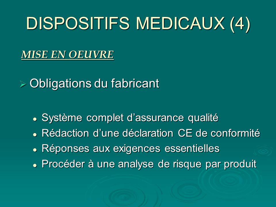 DISPOSITIFS MEDICAUX (4) Obligations du fabricant Obligations du fabricant Système complet dassurance qualité Système complet dassurance qualité Rédac
