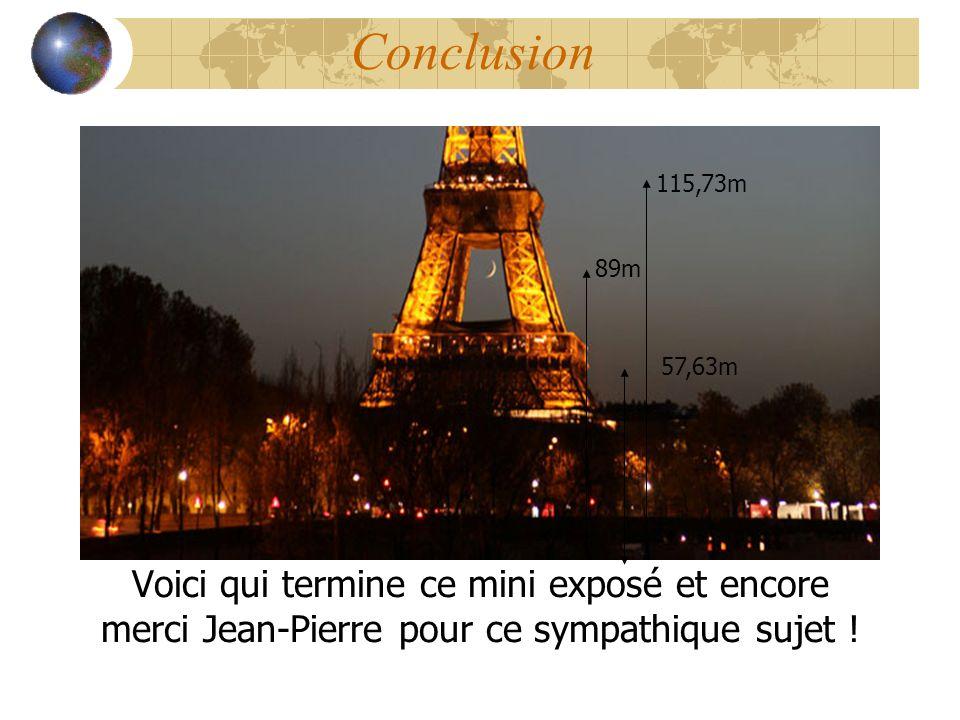 Conclusion Voici qui termine ce mini exposé et encore merci Jean-Pierre pour ce sympathique sujet ! 115,73m 57,63m 89m