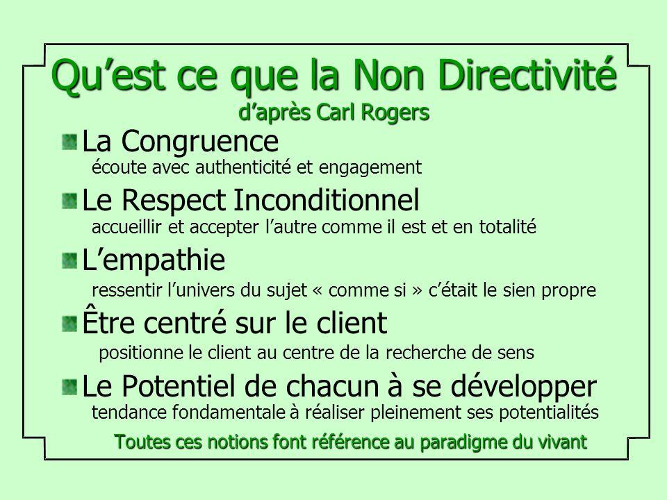 Quest ce que la Non Directivité daprès Carl Rogers La Congruence écoute avec authenticité et engagement Le Respect Inconditionnel accueillir et accept