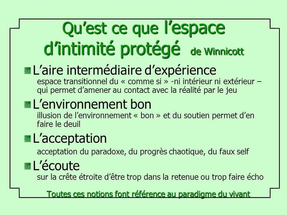 Quest ce que lespace dintimité protégé de Winnicott Laire intermédiaire dexpérience espace transitionnel du « comme si » -ni intérieur ni extérieur –