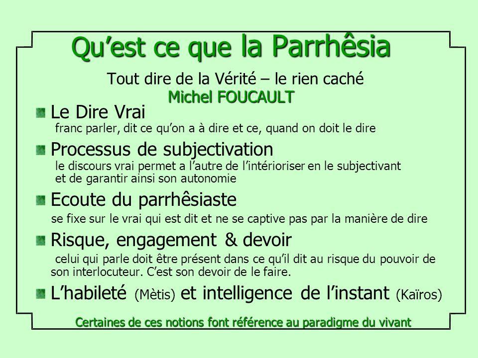 Quest ce que la Parrhêsia Michel FOUCAULT Quest ce que la Parrhêsia Tout dire de la Vérité – le rien caché Michel FOUCAULT Le Dire Vrai franc parler,