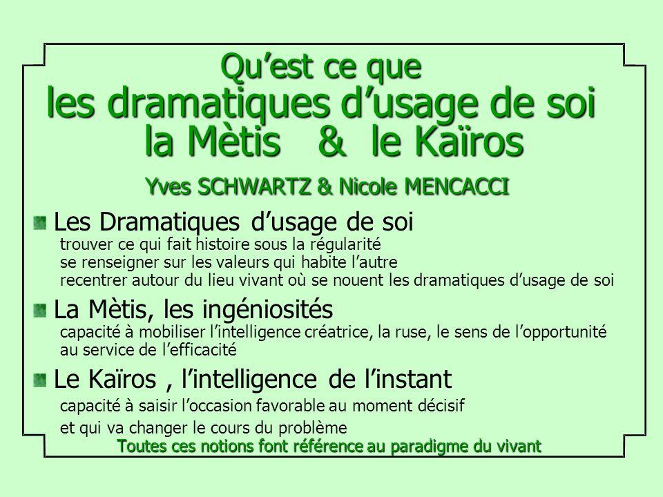 Quest ce que les dramatiques dusage de soi la Mètis & le Kaïros Yves SCHWARTZ & Nicole MENCACCI Les Dramatiques dusage de soi trouver ce qui fait hist