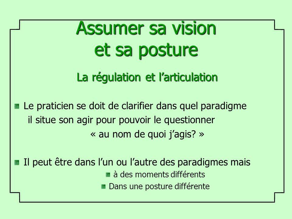 Assumer sa vision et sa posture La régulation et larticulation Le praticien se doit de clarifier dans quel paradigme il situe son agir pour pouvoir le