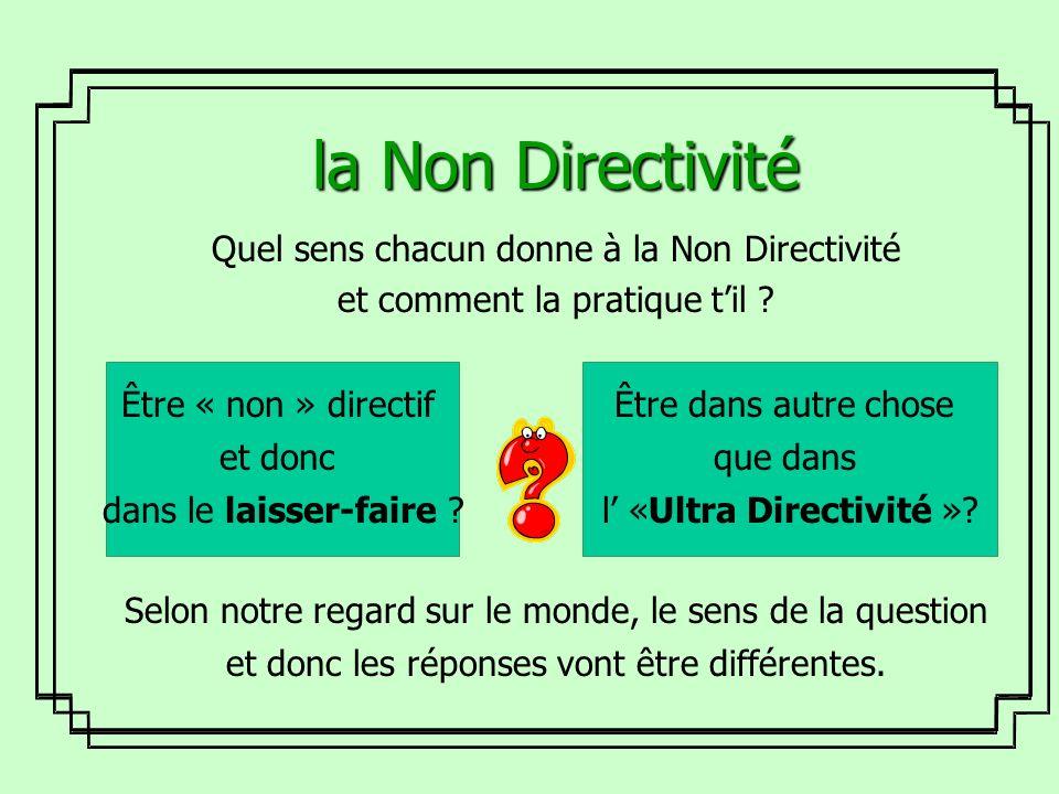 la Non Directivité Quel sens chacun donne à la Non Directivité et comment la pratique til ? Selon notre regard sur le monde, le sens de la question et