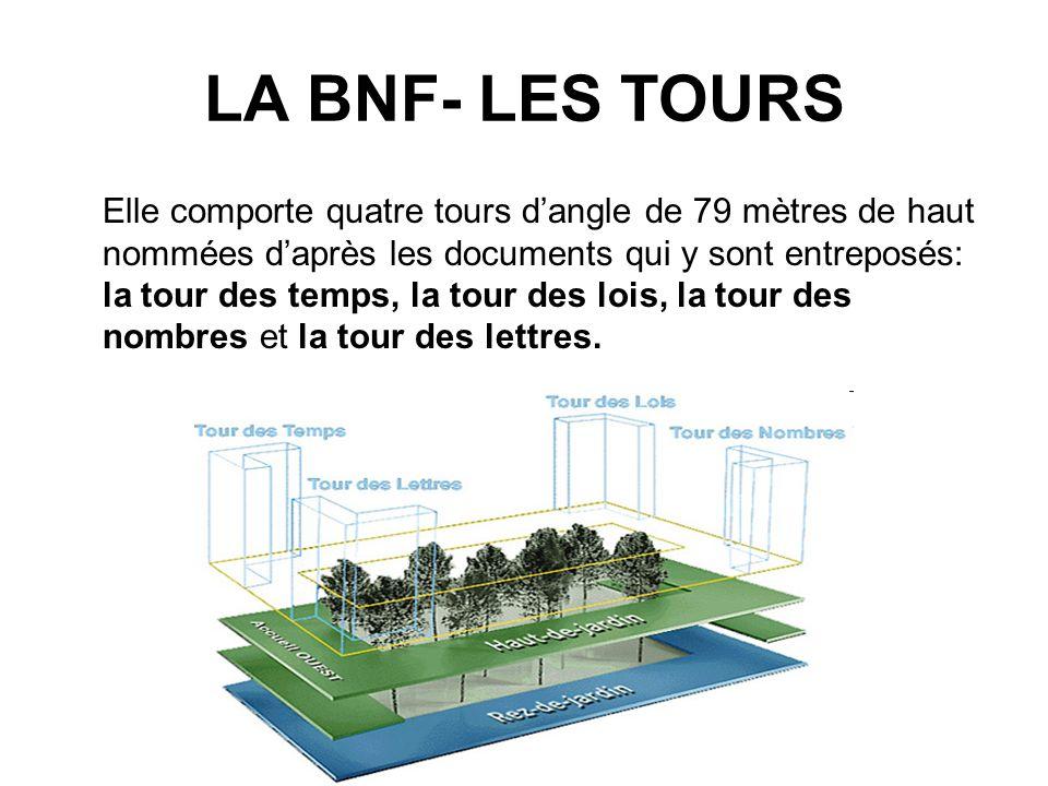 LA BNF- LES TOURS Elle comporte quatre tours dangle de 79 mètres de haut nommées daprès les documents qui y sont entreposés: la tour des temps, la tour des lois, la tour des nombres et la tour des lettres.