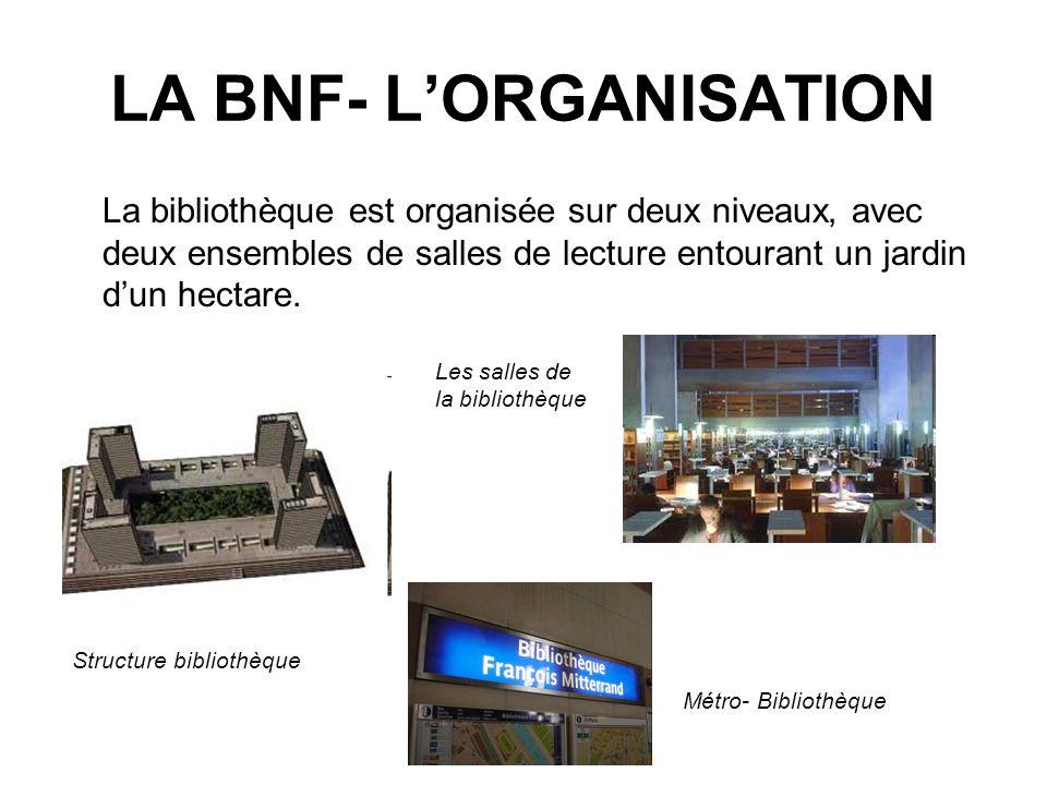LA BNF- LORGANISATION La bibliothèque est organisée sur deux niveaux, avec deux ensembles de salles de lecture entourant un jardin dun hectare.