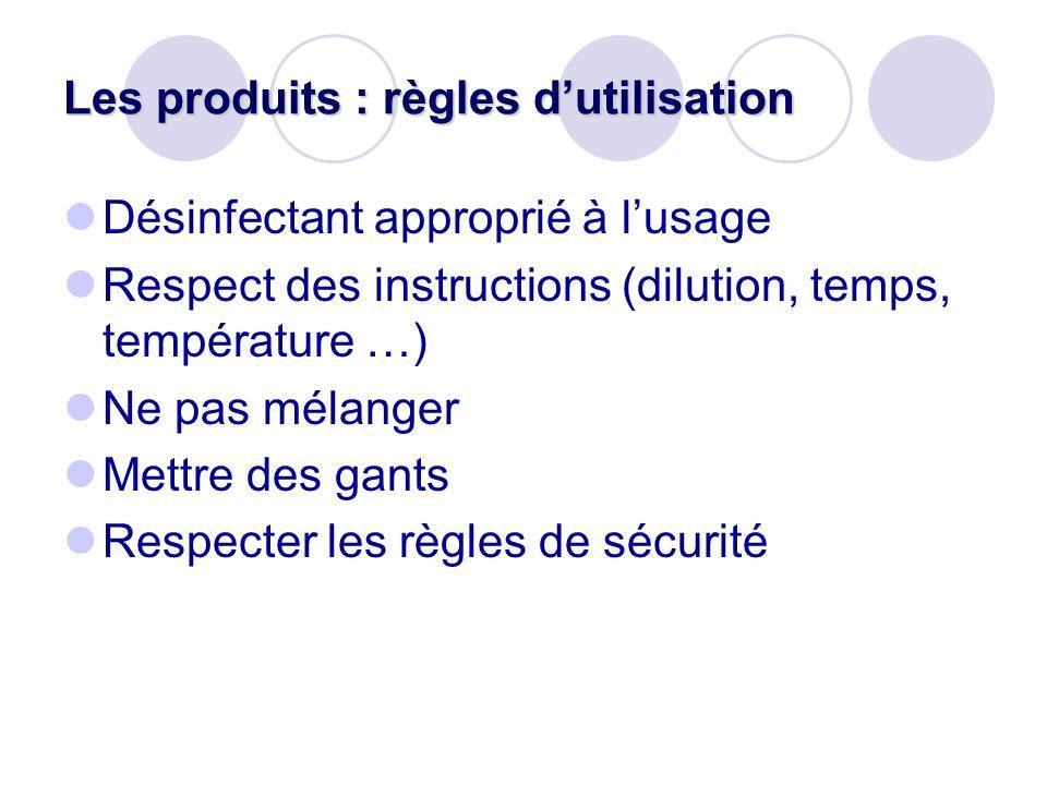 Les produits : règles dutilisation Désinfectant approprié à lusage Respect des instructions (dilution, temps, température …) Ne pas mélanger Mettre de