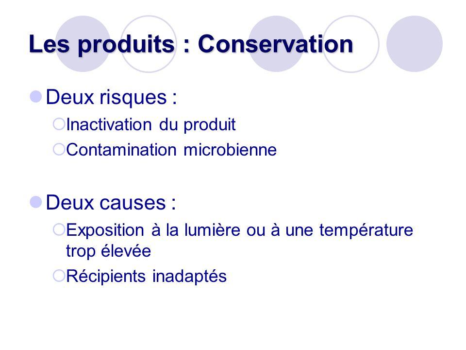 Les produits : Conservation Deux risques : Inactivation du produit Contamination microbienne Deux causes : Exposition à la lumière ou à une températur