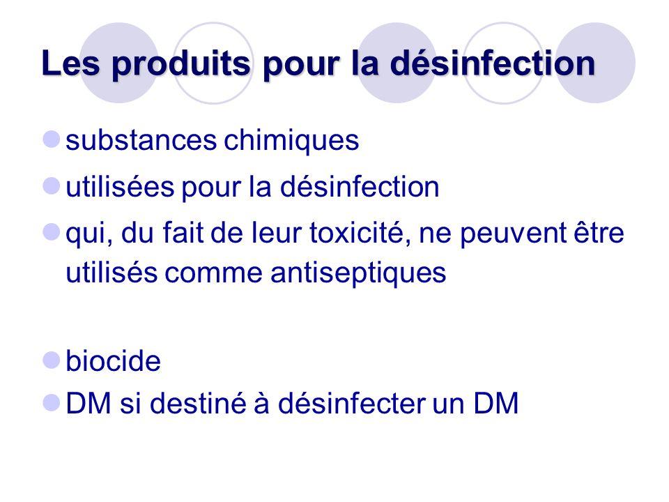 Les produits pour la désinfection substances chimiques utilisées pour la désinfection qui, du fait de leur toxicité, ne peuvent être utilisés comme an