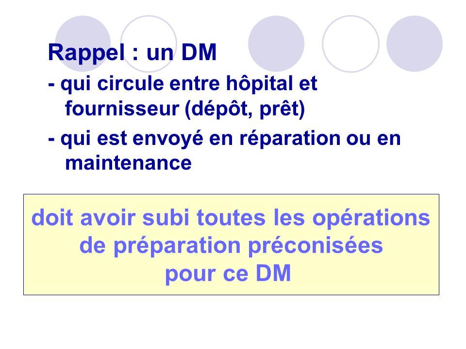Rappel : un DM - qui circule entre hôpital et fournisseur (dépôt, prêt) - qui est envoyé en réparation ou en maintenance doit avoir subi toutes les op